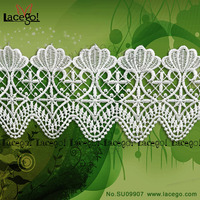 New Style Better Quality Embroidered Indian Trimming Scalloped Lace Fabric