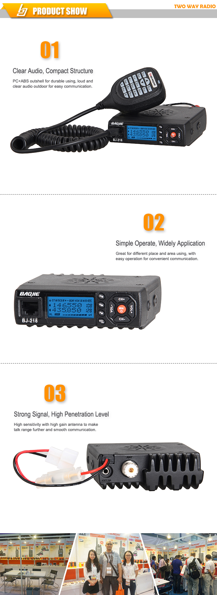 mini mobile radio 25W BAOJIE BJ-218 2 separate receivers dual band
