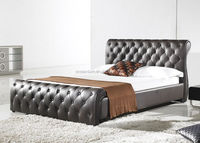New Style Black PU PVC Leather Bed for Home Furniture B012