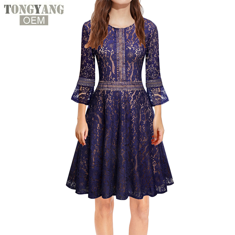 TONGYANG Womens Vintage Lace Dress Elegant O Neck Lace Dresses 3/4 Sleeve Slim Sexy Evening Party A Line Dress