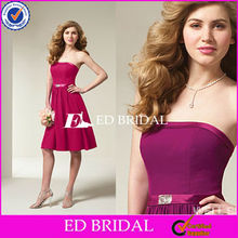 Satin knee length purple 2012 Bridesmaid Dress