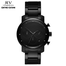 chrono 40mm black link six hand date multifunctional fashion man styles private label watches