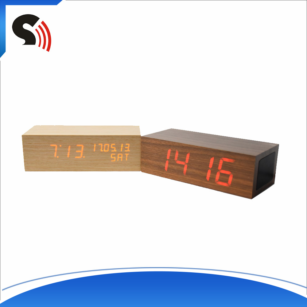 Portable Mobile Phones External Wood Alarm Clock Bluetooth Speaker With Phone Charger
