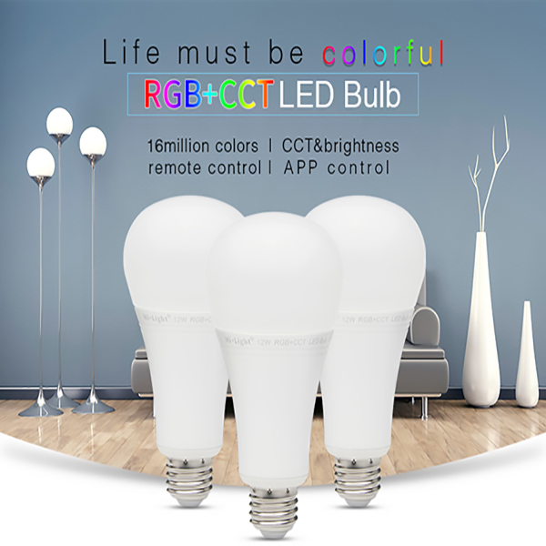 Dimmable 2.4G wireless Mi Light E27 Lamp 12W RGBW RGBWW RGB+CCT Smart Led Bulb Spotlight 85-265V