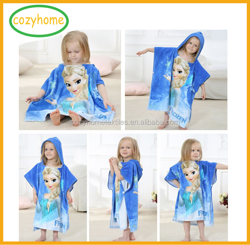 Best Christmas gift 100% cotton velour reactive printing kids hooded poncho towel bath hooded towel