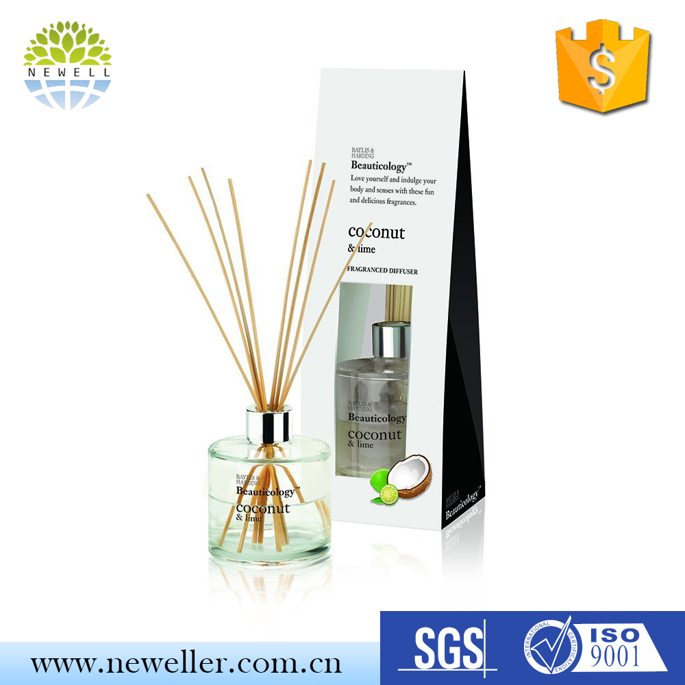 Walmart USA white tea scent reed diffuser perfume in colorful glass