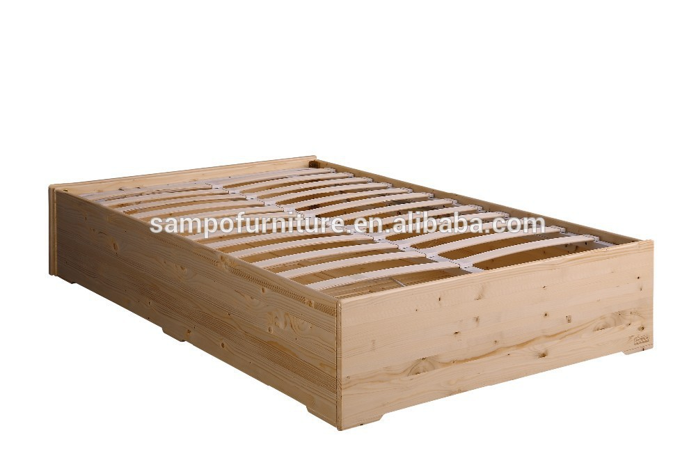 Solid wooden teak bed box gas lift wooden bed with storage for Wooden attic box bed