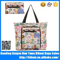 High quliaty fashion and cheap colorful nylon foldable tote shopping bag