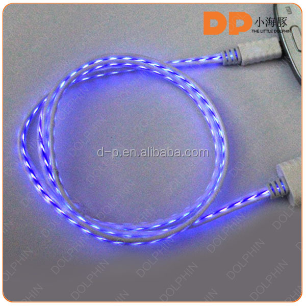 Types of EL Light USB cable logo custom retractable usb cable low price factory