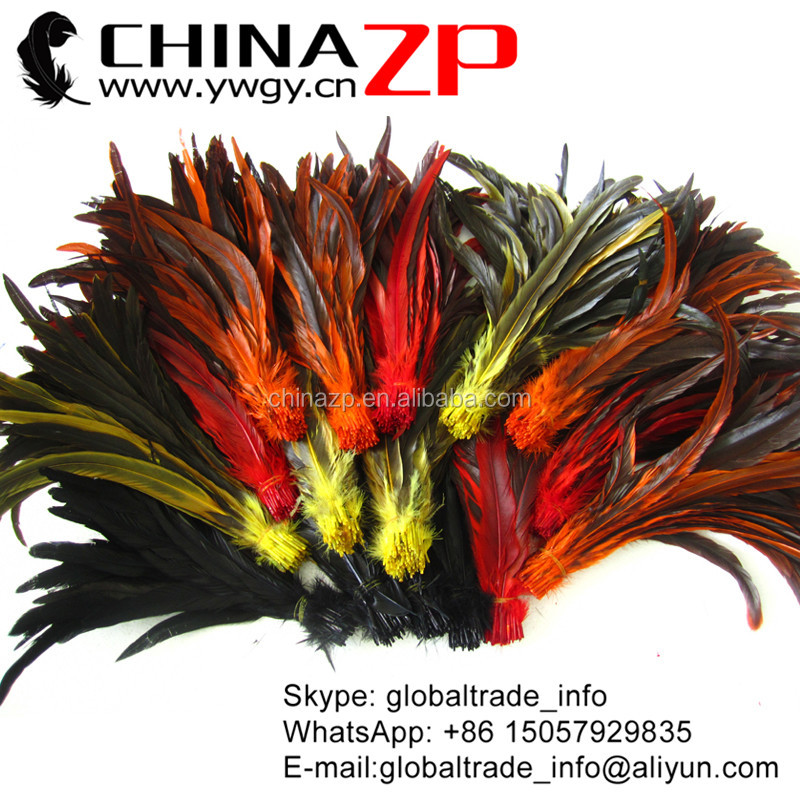 Trade Assurance Gold Supplier Wholesale Cheap Dyed Long Rooster Tail Feathers for sale