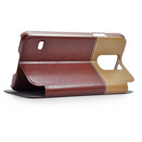 For custom Samsung S5 case, Color matching Flip PU Leather Case