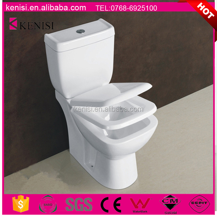 Gravity Flushing Ceramic Bathroom Two Piece Toilet Commode