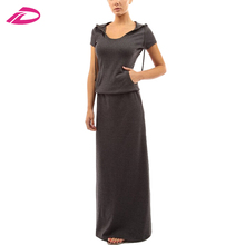Women Spring Floor-Length long Sleeve Hooded Tunic Cotton Maxi Dress