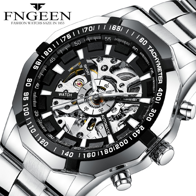 FNGEEN <strong>A001</strong> New High-end Stainless Steel Band Fully Automatic Hollow Mechanical Men's Watches Wholesale