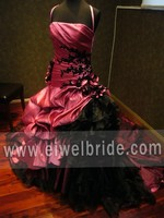 S433 Spaghetti Straps Appliqued Ball Gown Floor-length Taffeta Pink and Black Wedding Dresses