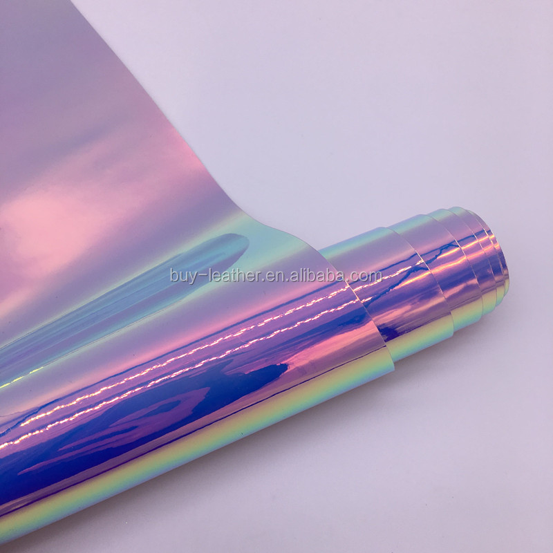 (BY6058) Iridescent Holographic Mirror Vinyl Fabric For Phone Case Cover DIY Material