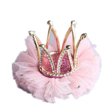 New kid's princess <strong>crown</strong> hairpins headband girls diamond hair clip tiara