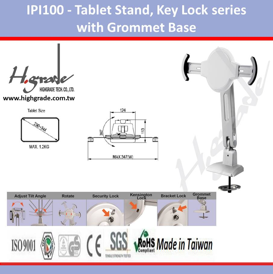 "9""~11"" Pad Tablet Stand, Key Lock series with Grommet Base"