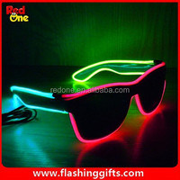 3 color new Product Flashing el wire sunglasses wholesale custom logo Party Dance Light Up sunglasses