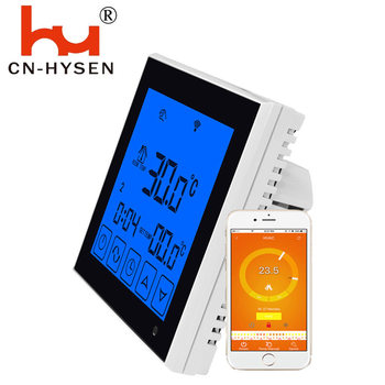 Hysen Touch Screen Weekly Program Wifi Thermostat for Electric Heating 16A Remote Controlled by IOS or Android Phone