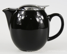 350ml Black Color Glazed Small Size Original Chinese Ceramic Tea Pots With Stainless steel Lids And Infuser
