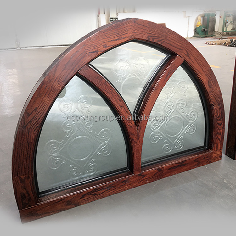 red oak wood aluminium fixed arched transom with carving glass window design