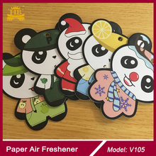 Panda cute lemon car paper air freshener 2mm cotton