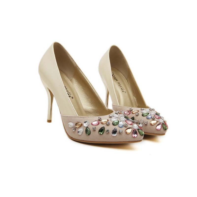 SAA40102 2015 spring the new elegant rhinestone ladies pointed stiletto pump shoes