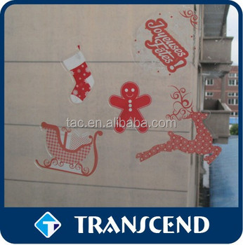 OEM Removable Decorative Waterproof die-cut Strong Self Adhesive Sticker /Christmas window clings stickers