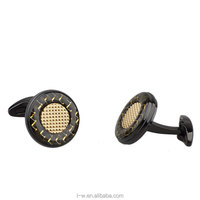 Fashion Gold Carbon Fiber Cufflinks
