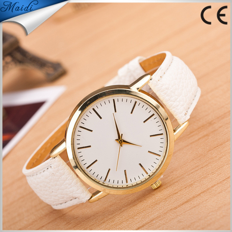 2017 Hot, Luxury gold Geneva Men watch Geneva PU Leather Casual Quartz dress Watches Beige Reloj clock relojes Cheapest MW-5