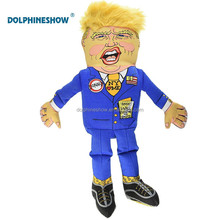"Donald Trump Stuffed Doll Parody Pet Cat Toys For Dog Wholesale Cheap 10"" Cute Cotton Canvas Interactive Chew Dog Squeaky Toy"