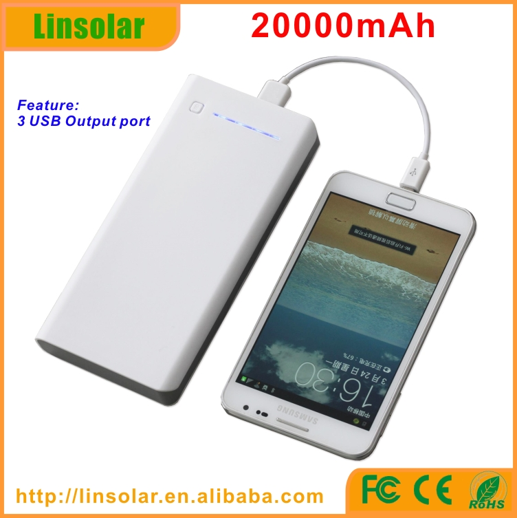 flashlight 3 usb 20000mah mobile portable power bank charger