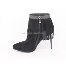China shoes factory black suede fringe booties for women