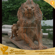 outdoor big yellow marble lion sculpture