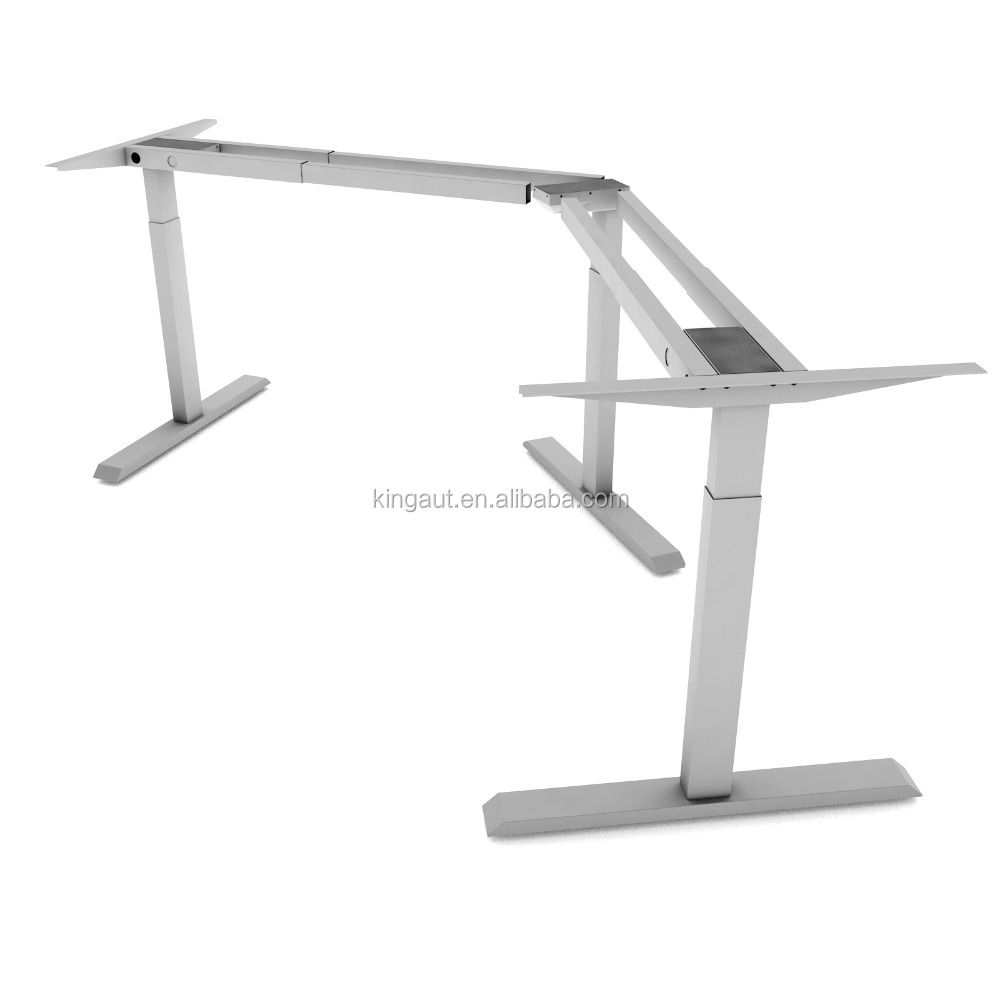 Hot Selling 3 Legs <strong>L</strong> shape Electrically Adjustable Height Office Standing Desk