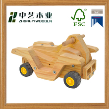 Handmade unfinished educational DIY pine motorcycle wooden moving toys