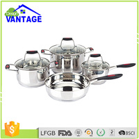 Quality guarantee 7pcs non-stick camping cookware set with mirror face