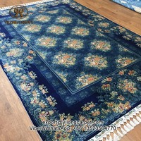 170x245cm Luxury blue pure hand knotted bedroom area floral chinese silk rug