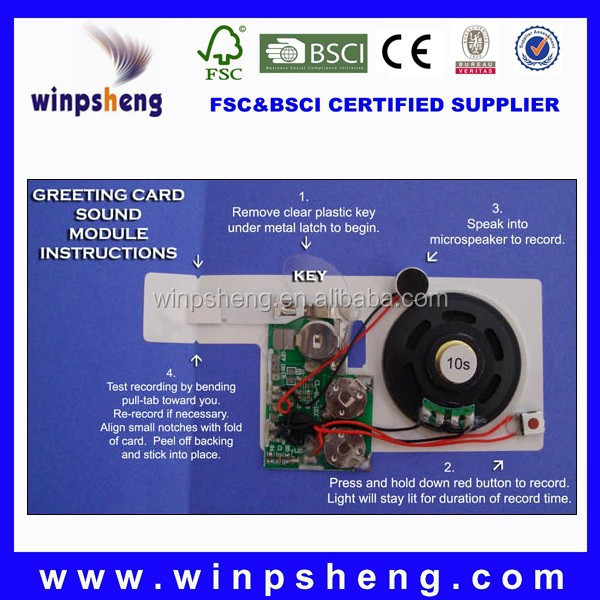 greeting card recordable sound module /recordable sound chips for cards