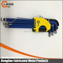 China factory 9pcs extra long ball point blue color allen key wrench