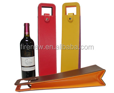 Single PU Leather Wine Carrier Wine Packaging Boxes Foldable