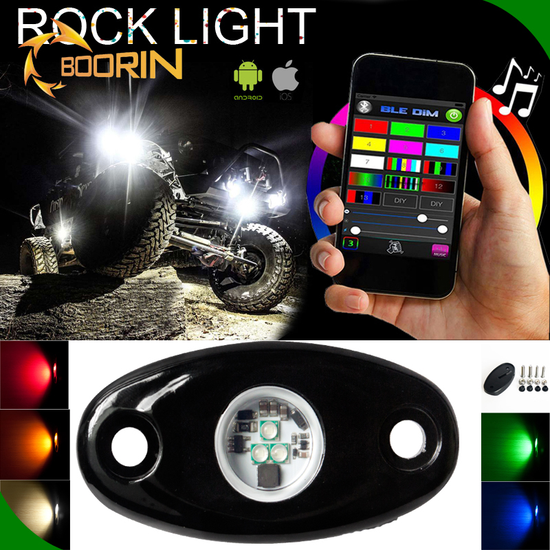 4 pods in one DC 12V 24V led deck light 9W 900LM waterproof LED rock light underbody light with RGB color bluetooth APP control