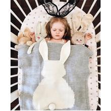 Wholesale Children's Lovely 3D Rabbit Ear Jacquard Cotton knitted Blanket for Baby