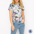 latest jersey design short sleeve t shirt beautiful floral print ladies elegant top open back t shirts