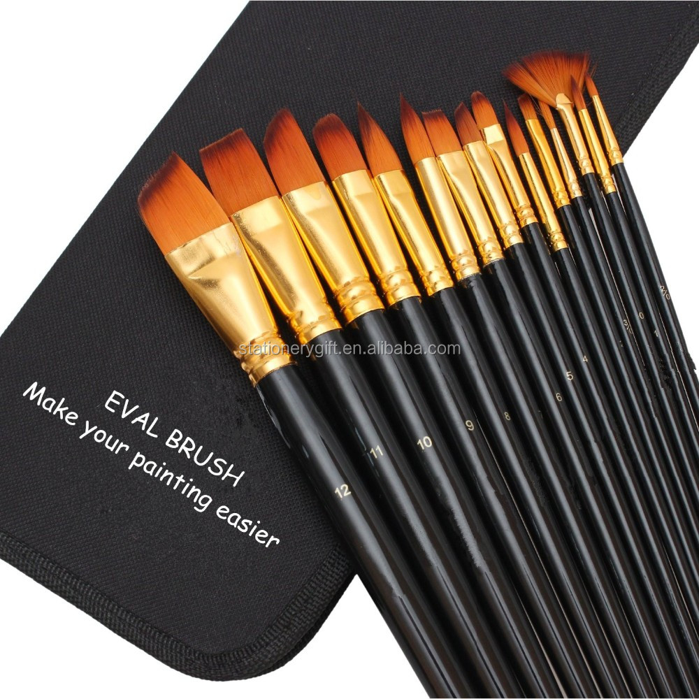 Premium Painting Brush Set 15 Piece Golden Synthetic Hair, long Wooden Handle Artist Paint Brushes