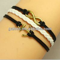 black and white infinity and anchor leather for making bracelets