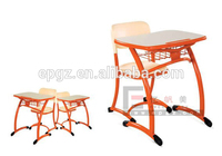 Single School Desk and Chair at Classroom,Standard Classroom Desk and Chair,Guangzhou School Desk with Attached Chair