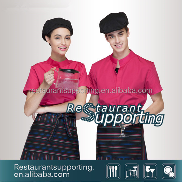 Restaurant Hotel Uniform For Waitress Short Sleeves