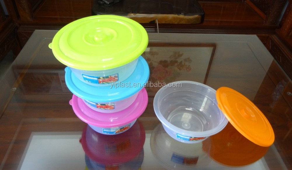 3.8L Round plastic food storage container, Salad bowl with lid, storage box
